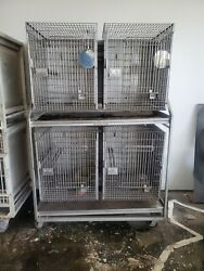 Large Animal Caging Double Stack 4 In 1 Pet Dog Housing Cage Stainless Steel