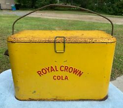 Vintage 1940s-50s Yellow Royal Crown Rc Cola Soda Drink Cooler With Insert