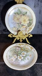 2 Antique D And C France Gold Gilt Hand Painted Collection Rose Flowers Plates