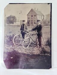 Vintage Antique 1890's Safety Bicycle Tintype Photo W/ Two Men Large Size 5x7