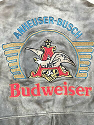 Excelled Mens Anheuser Busch Budweiser Beer Brown Leather Bomber Jacket Size Xl