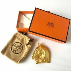 Hermes Brooch Rare Vintage Old Horse Hose Pin Badge With Box Antique 8-422