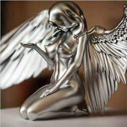 Figurines And Miniatures Silver Angel Wings Resin Crafts Desktop Ornaments Garden