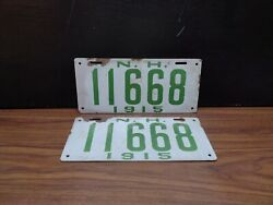 Old 1915 Porcelain New Hampshire License Plate Plates Match Set Of 2 Nh
