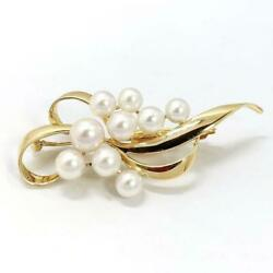 Mikimoto Auth K18yg About 5.4 To 7.2mm Akoya Pearl Brooch Used From Japan