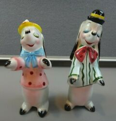Vintage Anthropomorphic Dog Py Japan Ucagco Tall Salt And And Pepper Shakers