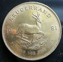 Krugerrand 1981 South African 1 Ounce Solid 22ct Yellow Gold Coin Uncirculated