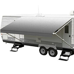 Rv Awning Fabric Replacement Premium Grade Vinyl Canopy W/ Pull Strap Gray Fade