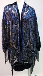 Travelers Collection By Chicos Velvet Paisley Print Duster Kimono Top Size M/l