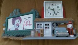 Vintage Mcdonald's Highway Ronald On Billboard Wall Clock 57 Chevy Gas Station