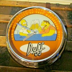 The Simpsons Duff Beer Animated Flashing Wall Clock Homer Barney 2002 Works