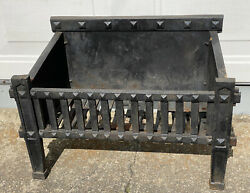 Antique Arts And Crafts Era Cast Iron Fireplace Grate Insert- On Wheels