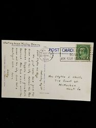 Antique Postcard With George Washington 1 Cent Stamp - Postmarked 1939