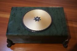Nephritis Box With Silver Russian Hw Faberge.