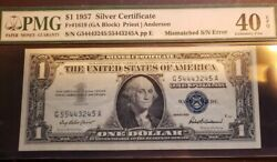 1 Error Note -1957 Silver Certificate - Mismatched Serial Number - Pmg 40 Epq