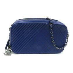 Blue Small Coco Boy Camera Case Shoulder Bag Quilted Lambskin Leather