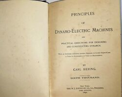 Principles Of Dynamo Electric Machines Antique Book By Carl Hering 1890 T2