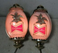 Large Vintage Pair Budweiser Beer Wall Sconces Lights 1950's/60's Tel-a-sign Usa
