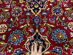 Red Oriental Wool Rug 8x12 Hand-knotted Antique Traditional Handmade Carpet 8x11