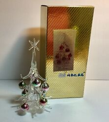 Venetian Spun Hand Blown Glass Christmas Tree With Mop Glass Colored Ornaments