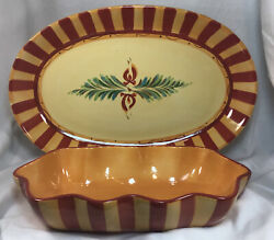 """Gail Pittman Siena 14"""" Oval Platter And Ruffled Bowl Southern Living At Home"""