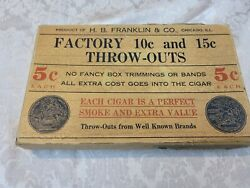 Wood Cigar Box Hb Franklin Chicago Throw Outs Antique Old Solid Rare Cardboard