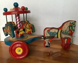 Vintage 1950s Merry Go Round Pull Toy Nn Hill Brass Co