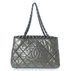 Auth Chain Me A50494 Silver Leather Womens Tote Bag