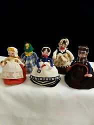 Vintage Five Handmade Ethnic Dolls Made Of Wool And Cloth