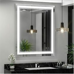 30 X 36 Inch Led Bathroom Mirror With Light Vanity Makeup Wall Mounted 30x36