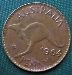1 Australia 1964 One Penny 1 Cent Jumping Kangaroo 1 Coin Low Shipping
