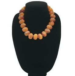 Vintage Faux Amber Lucite Beaded Statement Bib Necklace Approx 20 + 2