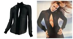 F/w 2002 Vintage Gianni Versace Couture Black Silk Shirt With Leather Detail
