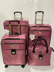 New Samantha Brown Ultra Lightweight 4 Pc Luggage Set Spinner Dusty Rose