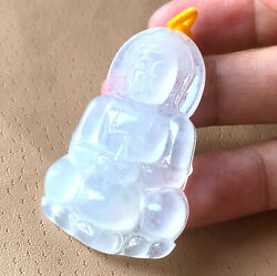 Certified Grade A Jade Jadeite Icy Kuanyin Guanyin Pendant Translucent Carving