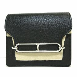 Auth Hermes Roulis Black Chevre Z Other Style Wallet