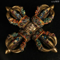 Collection Old Antique Tibet Pure Copper Inlaid With Gems Cross Magic Instrument