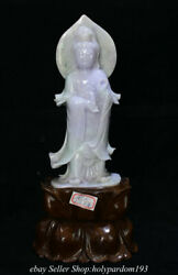 12.8 Chinese Natural Ice Purple Emerald Jade Jadeite Carved Guan Yin Statue Fc