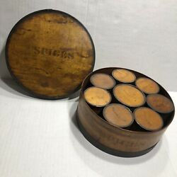 Patent Package Co Newark Nj Pantry Spice Bentwood Tin Box Jar Set Of 8 All Clove