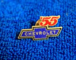 Vintage Chevrolet Bowtie And03955 Hat Lapel Pin Accessory Badge Tri--five