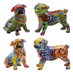 Dog Statue Figurine French Bulldog Sculpture Animal Decor for Home Car Office