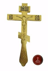 Russian Orthodox cross for relics made from brass and plated gold colour size... $75.00