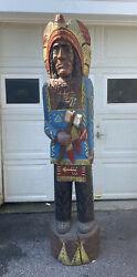 Tobacco Indian Cigar Store Statue Life Size 6ft Wood Carved