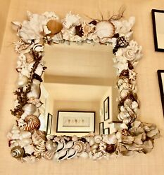 Sea Shell Mirror - Hand Made - Custom W/over 100 Shells And Corals