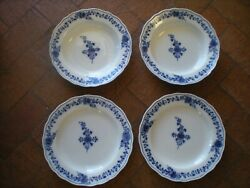 2 Antique Dinner Plates And 2 Deep Dishes Matching Meissen Blue Flower Pattern