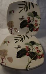 Set Of 4 Spode Fruit Haven Square Luncheon Plates, 2006 - 2007