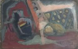 Still Life Painting By G. Braque / Oil Cardboard / Signed