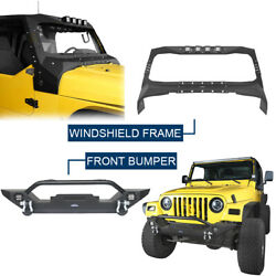Textured Steel Windshield Frame Cover + Front Bumper For Jeep Wrangler Tj 97-06