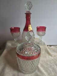 Vintage Indiana Diamond Point Glass Ruby Red Set Decanter And Stopper And Ice Buck