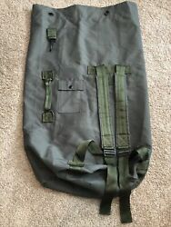Vintage Military Duffle Bag Us Army Green Laundry Strap Rucksack Near Mint